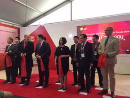 Das Foto zeigt bei der Eröffnungszeremonie v.l.n.r. Yu Zhipu, Jens Heithecker, Wang Weidong, Jin Hong, Li Dongsheng und Jürgen Boyny.