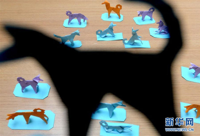 Lu Jiahong präsentiert seine Origami-Hunde(3)