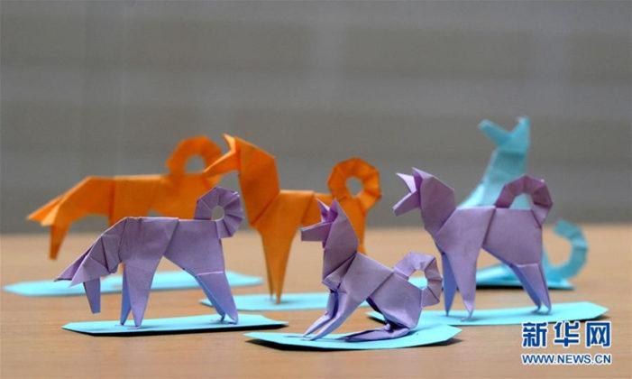 Lu Jiahong präsentiert seine Origami-Hunde(2)